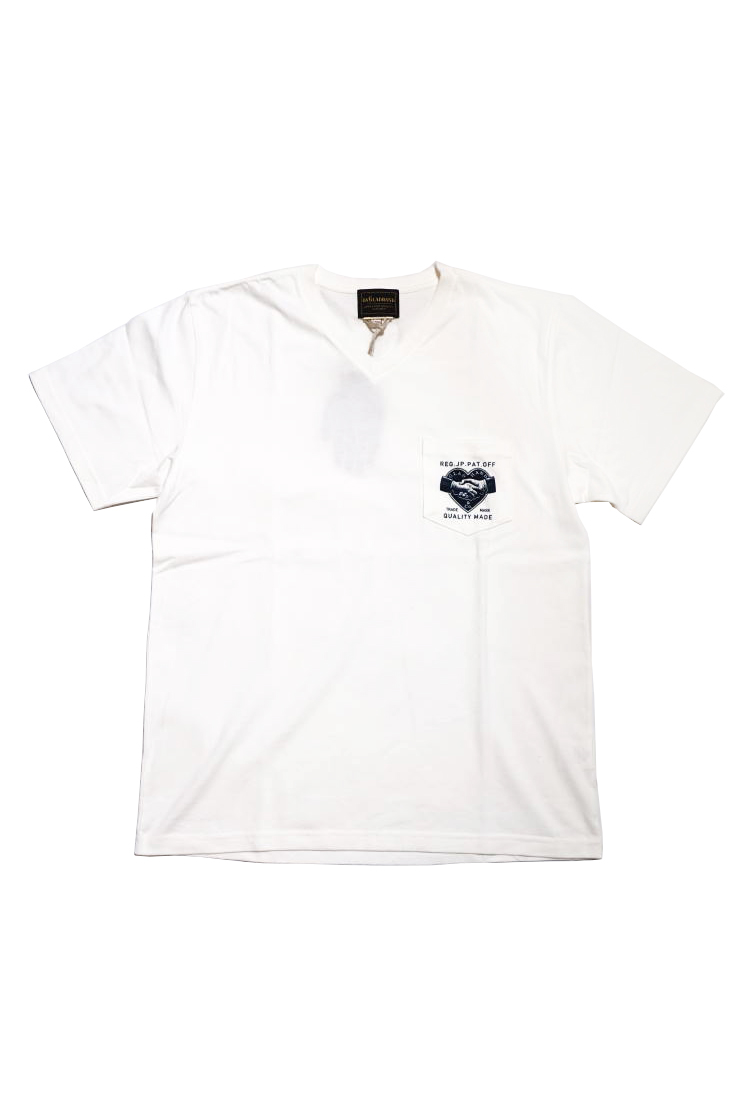 BY GLAD HAND HEARTLAND DAILY - S/S V-NECK T-SHIRTS WHITE×NAVY
