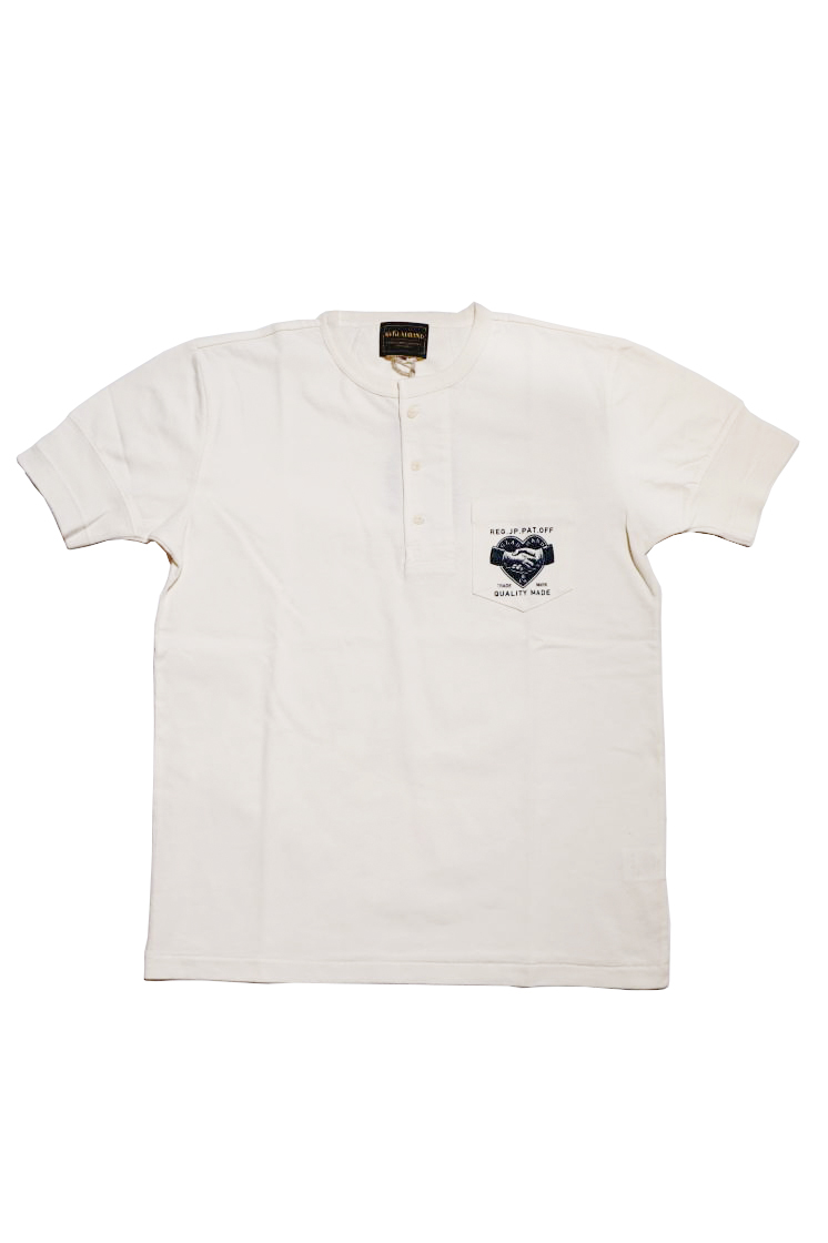 BY GLAD HAND HEARTLAND - S/S HENRY NECK T-SHIRTS WHITE×NAVY