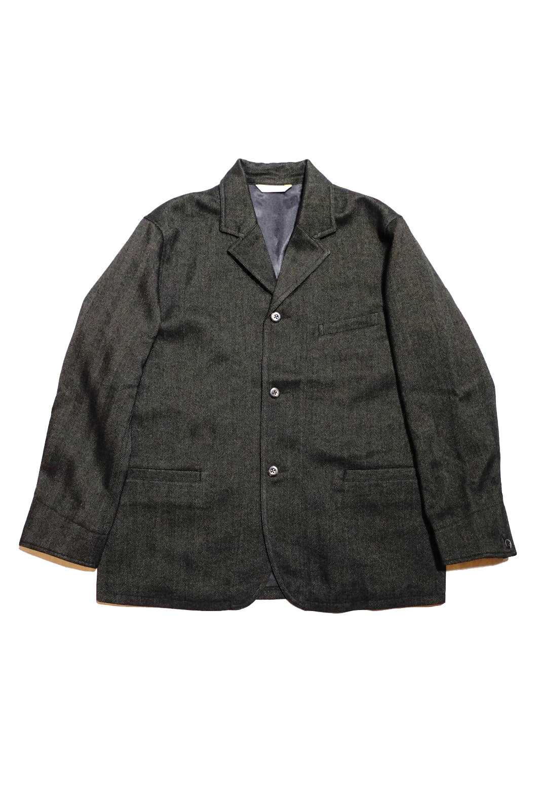 ANDFAMILYS CO. WOOLY TWEED HERRINGBONE JACKET MG