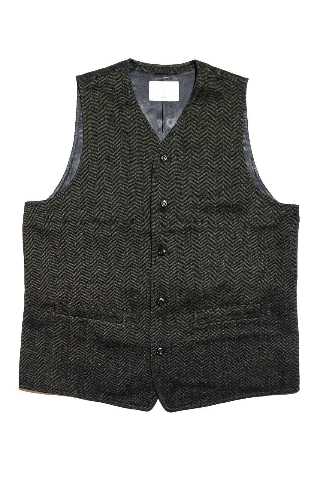 ANDFAMILYS CO. WOOLY TWEED HERRINGBONE VEST MG