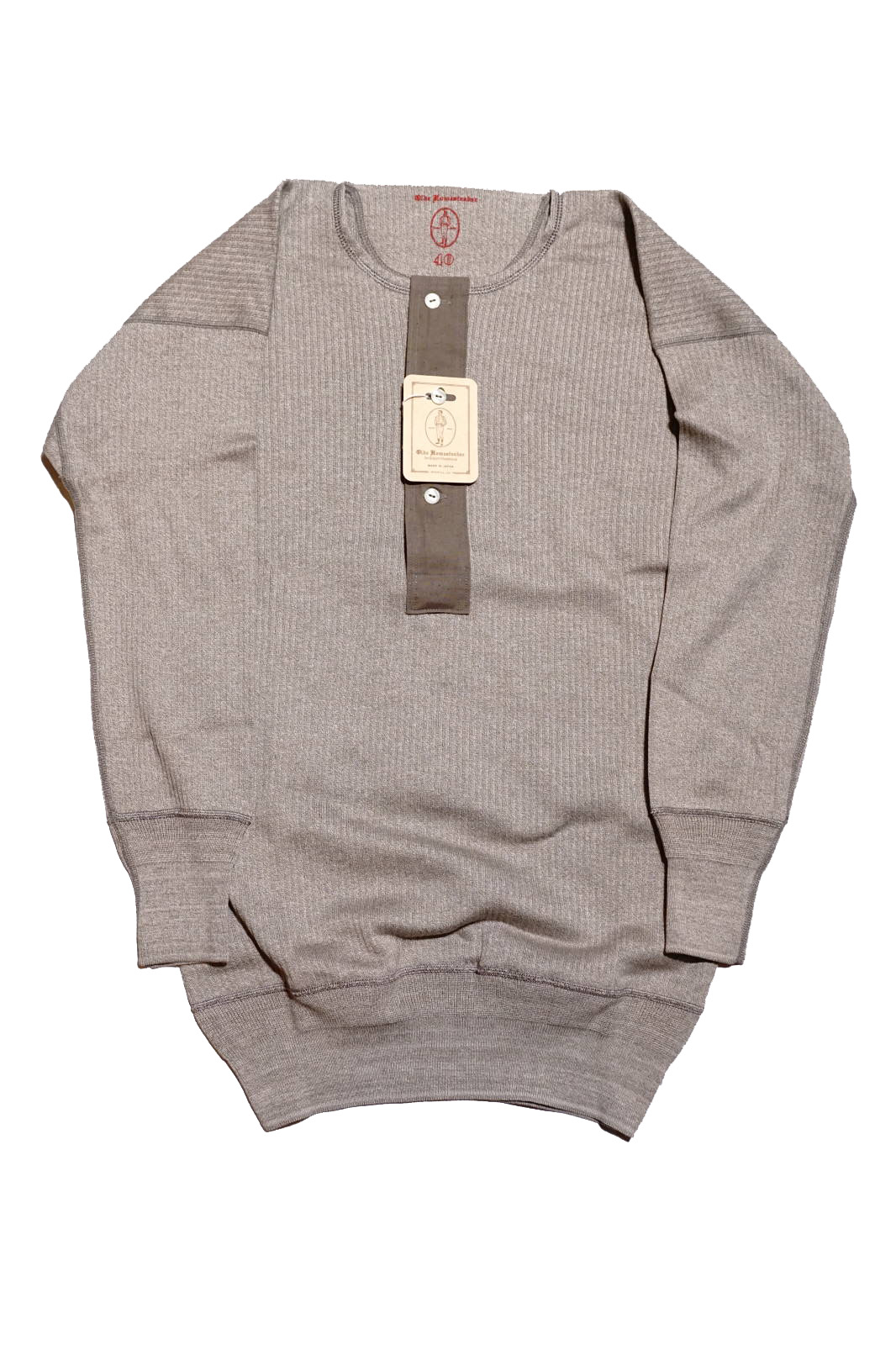 "Olde Homesteader ""Henley Neck Longsleeve"" – Swedenish Army Rib – Mottled Grey"