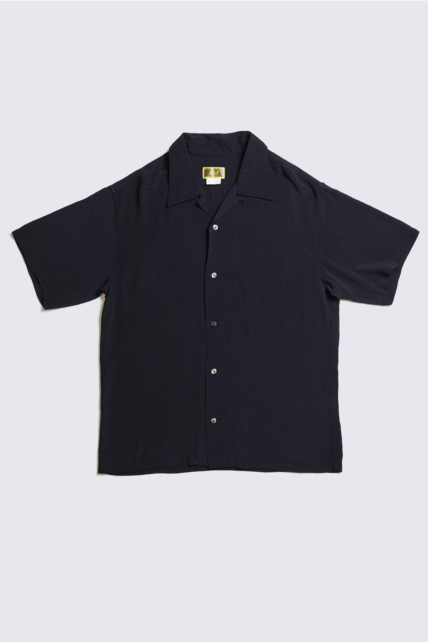 ADDICT CLOTHES JAPAN ACVM ACV-SH02RY RAYON SLANT POCKET OPEN COLLAR SHIRT BLACK