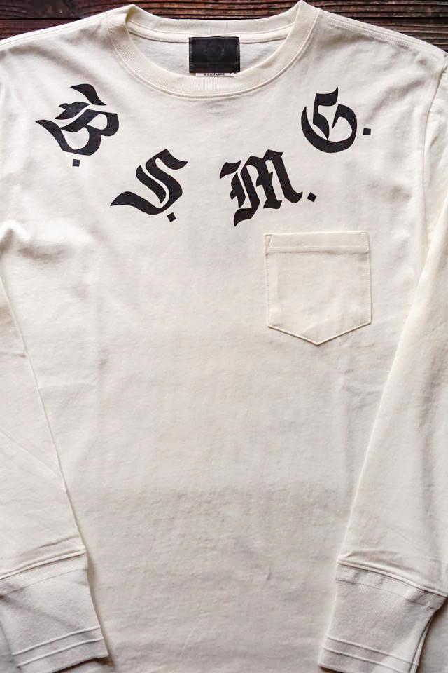 B.S.M.G. B LETTERS - L/S T-SHITS WHITE×BLACK