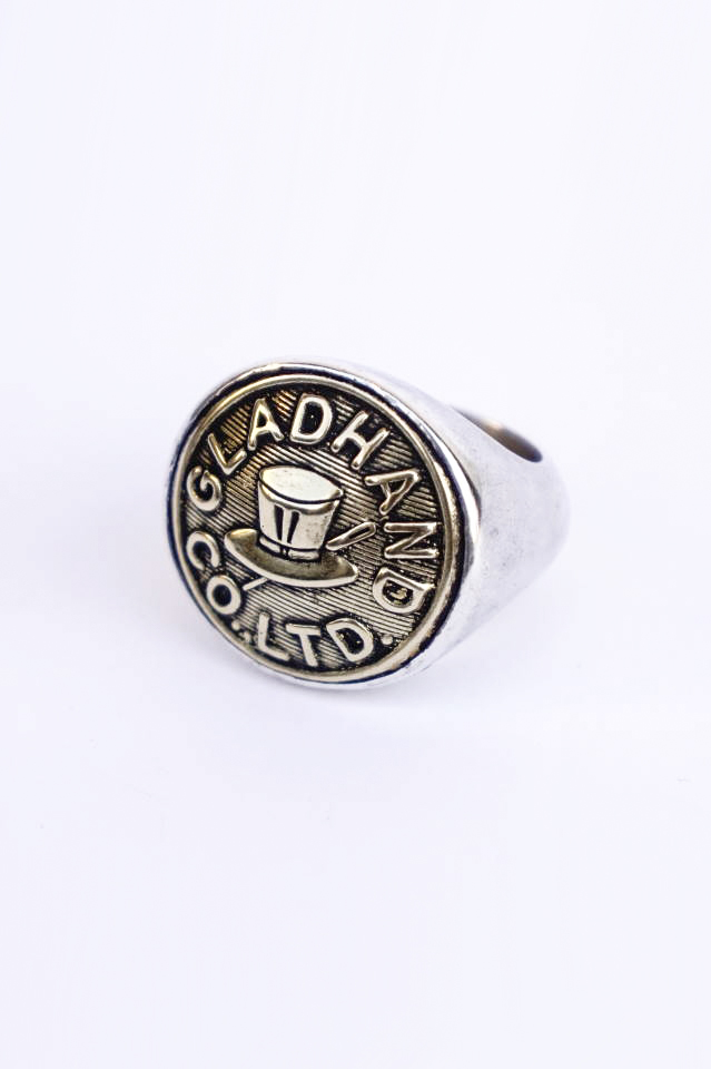 """GLAD HAND. BUTTON RING """"HAT"""" LARGE MADE IN U.S.A."""