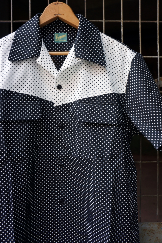 "Delinquent Bros ""CREAP DOT"" OPEN COLLAR SHIRTS BLACK"