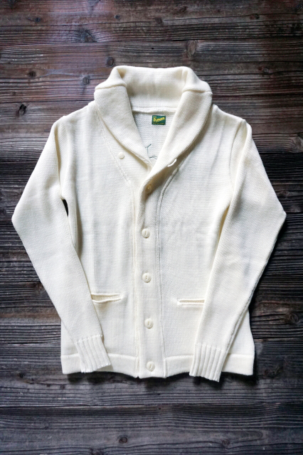 "Delinquent Bros ""SIDES"" SHAWL COLLAR KNIT OFF WHITE"