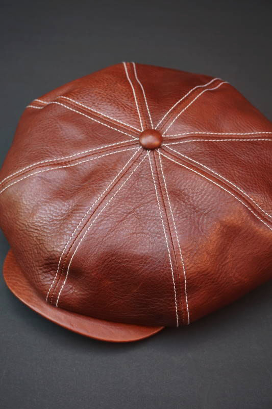 5 WHISTLE LEATHER CASQUETTE BROWN
