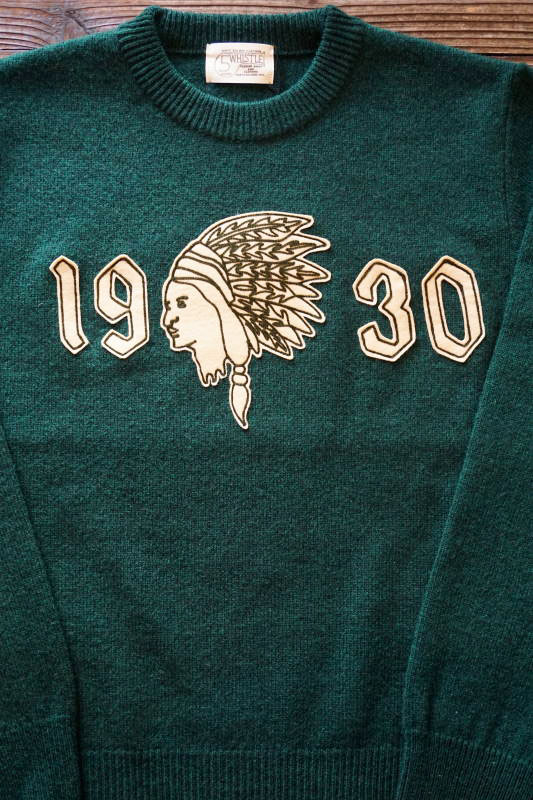 "5 WHISTLE ""INDIAN HEAD"" SWEATER GREEN"