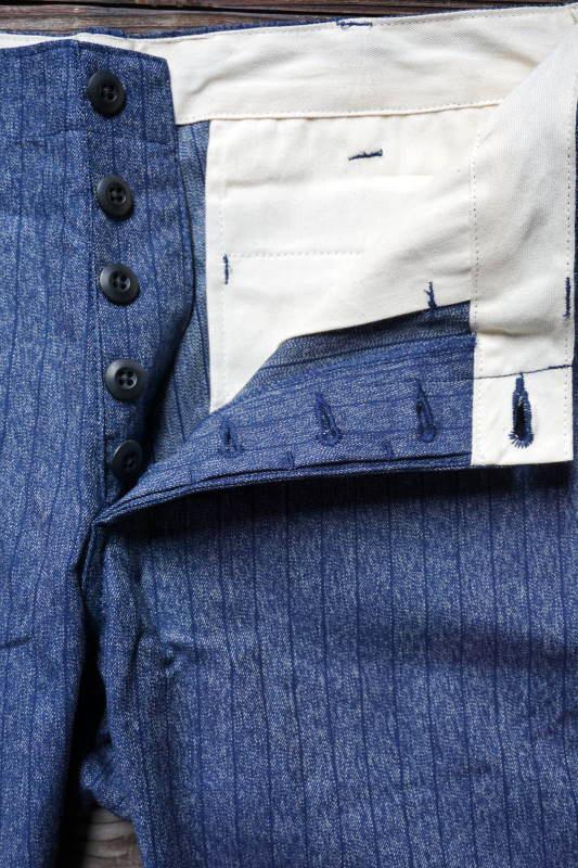 5 WHISTLE CHAMBRAY STRIPE PANTS BLUE