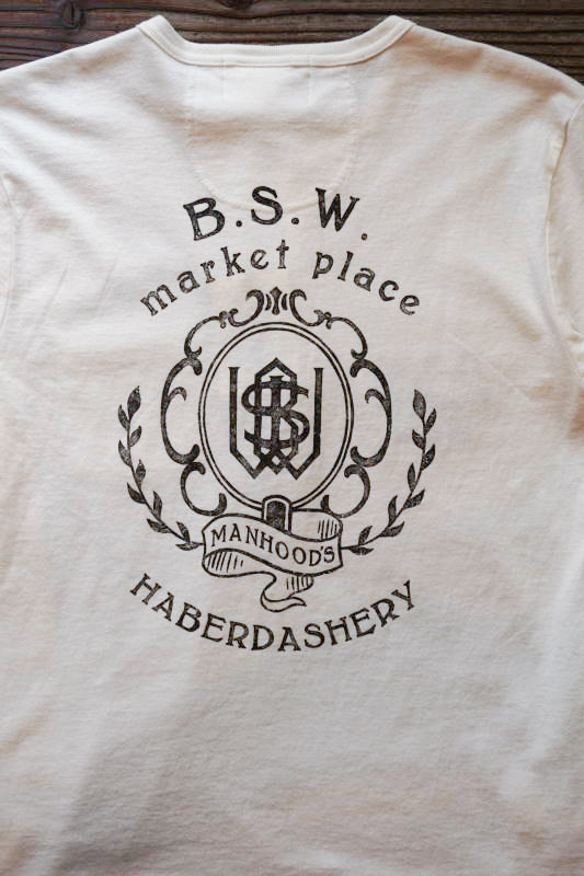 GLAD HAND & Co. × B.S.W. market place Limited Edition STANDARD HENRY POCKET L/S T-SHIRTS WHITE