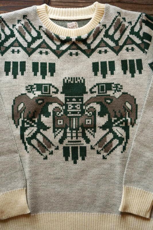 BAD QUENTIN TOTEM POLE JACQUARD KNIT GREEN