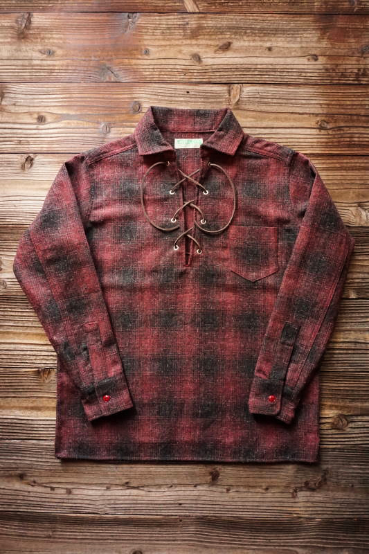 5 WHISTLE LACE - UP WOOL SHIRT RED