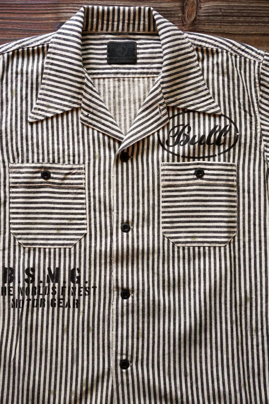 B.S.M.G. STRIPE WORK - S/S SHIRTS BLACK
