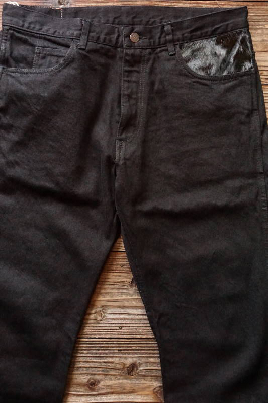 BAD QUENTIN PATCHED DENIM PANTS BLACK