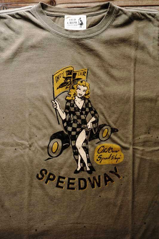 OLD CROW SPEEDWAY - S/S T-SHIRTS KHAKI