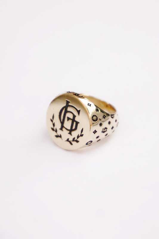 "GLAD HAND JEWELRY RING FAMILY CREST ""K10 GOLD"""