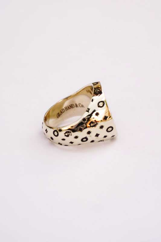 """GLAD HAND JEWELRY RING FAMILY CREST """"K10 GOLD"""""""