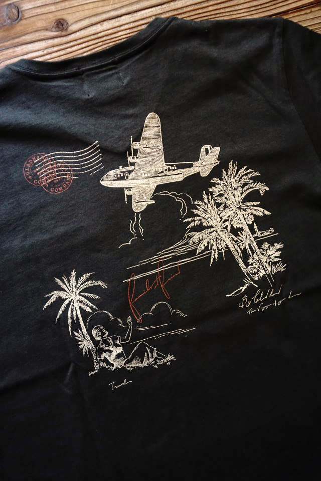 BY GLAD HAND POSTAL FLIGHT - V NECK S/S T-SHIRTS BLACK