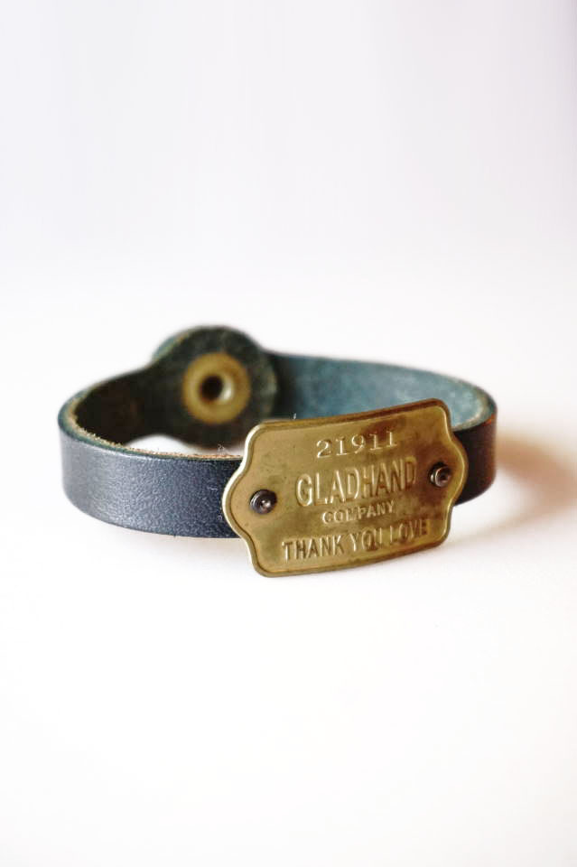 "GLAD HAND GH TAG - NARROW BRACELET ""THANK YOU LOVE"" NAVY"