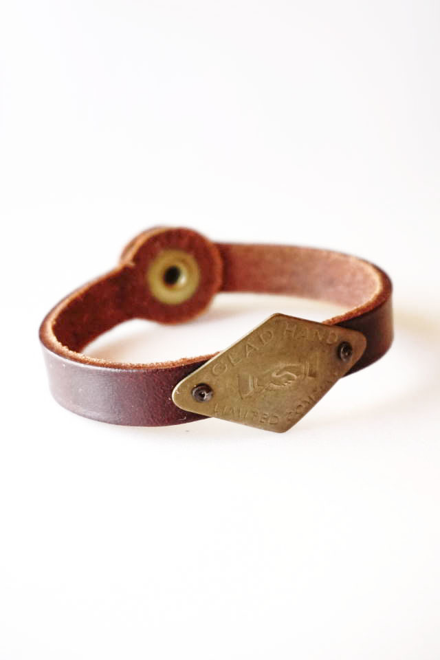 "GLAD HAND GH TAG - NARROW BRACELET ""SHAKE HAND"" BROWN"