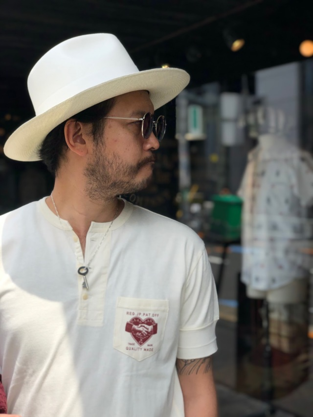 BY GLAD HAND HEARTLAND DAILY - S/S HENRY NECK T-SHIRTS WHITE×BURGUNDY