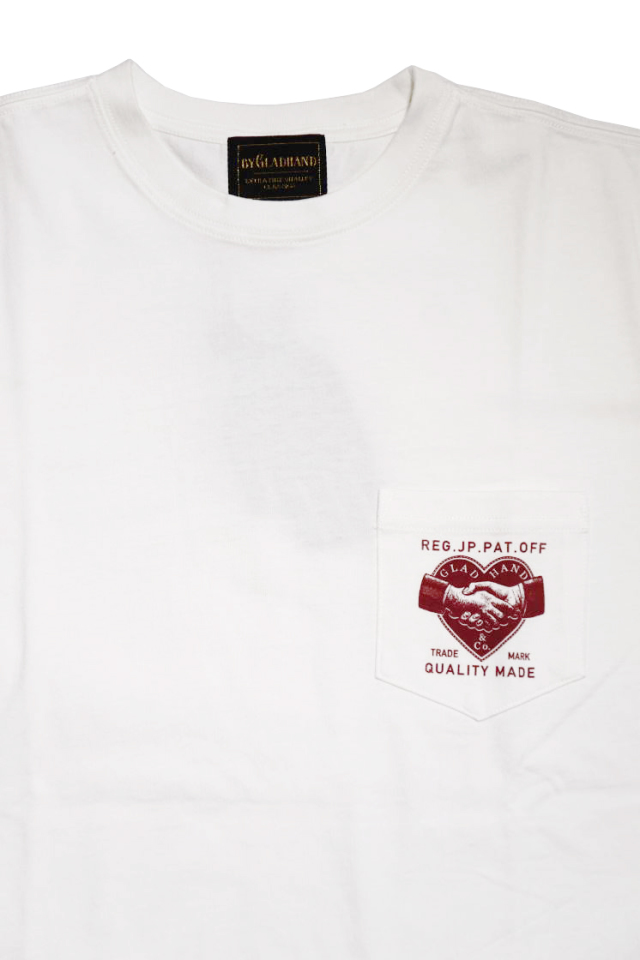 BY GLAD HAND HEARTLAND DAILY - S/S T-SHIRTS WHITE×BURGUNDY