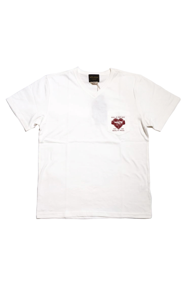 BY GLAD HAND HEARTLAND DAILY - S/S V-NECK T-SHIRTS WHITE×BURGUNDY