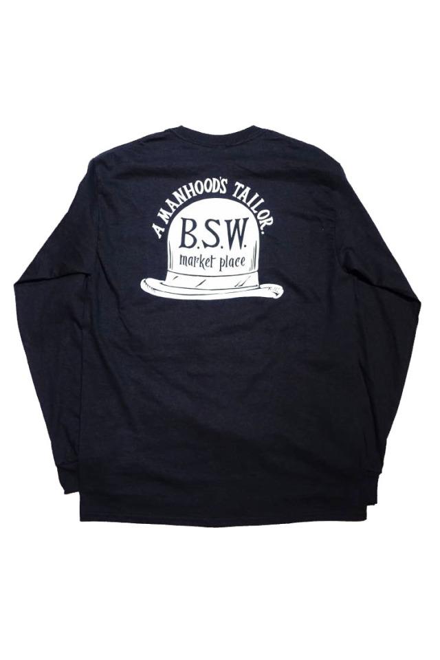 """B.S.W. ORIGINAL """"HAT"""" Pocket L/S Tee BLK/WHT"""