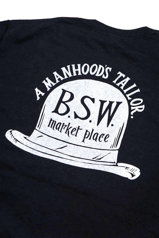 """B.S.W. ORIGINAL """"HAT"""" Pocket Tee BLK/WHT"""
