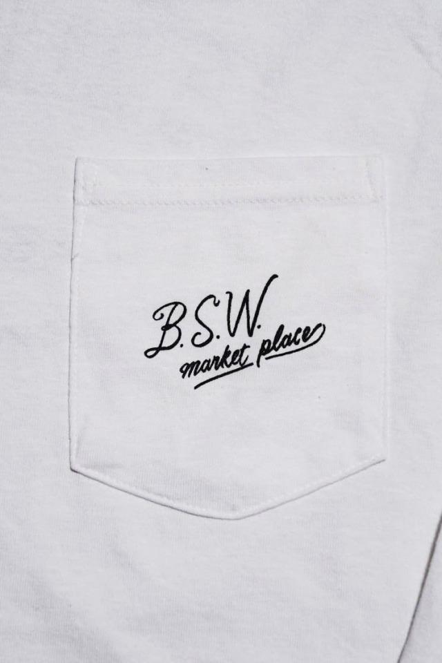 "B.S.W. ORIGINAL ""A MANHOOD'S TAILOR"" Pcket L/S Tee WHT/BLK"