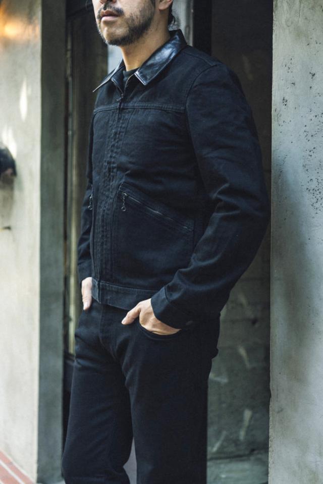 ADDICT CLOTHES JAPAN × MINEDENIM AACV-MD01 HORSE LEATHER COLLAR ZP GJKT BLACK