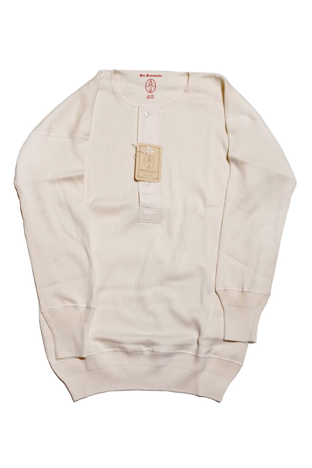 "Olde Homesteader ""Henley Neck Longsleeve"" – Swedenish Army Rib – Ivory"