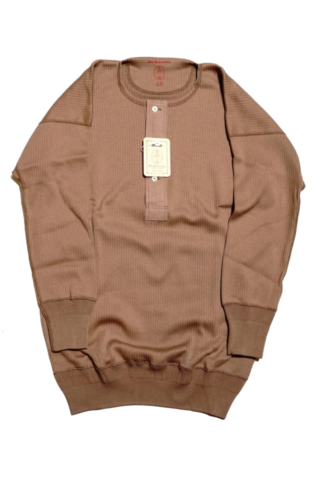 "Olde Homesteader ""Henley Neck Longsleeve"" – Swedenish Army Rib – Rustic Brown"