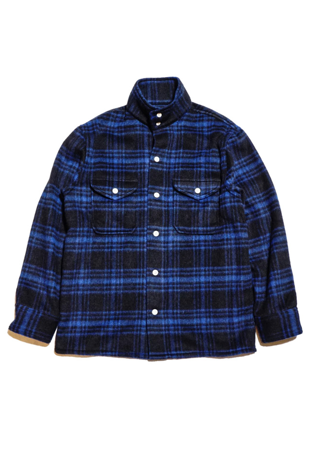 ANDFAMILYS CO. BUFFALO PLAID STAND COLLAR SHIRTS BLUE