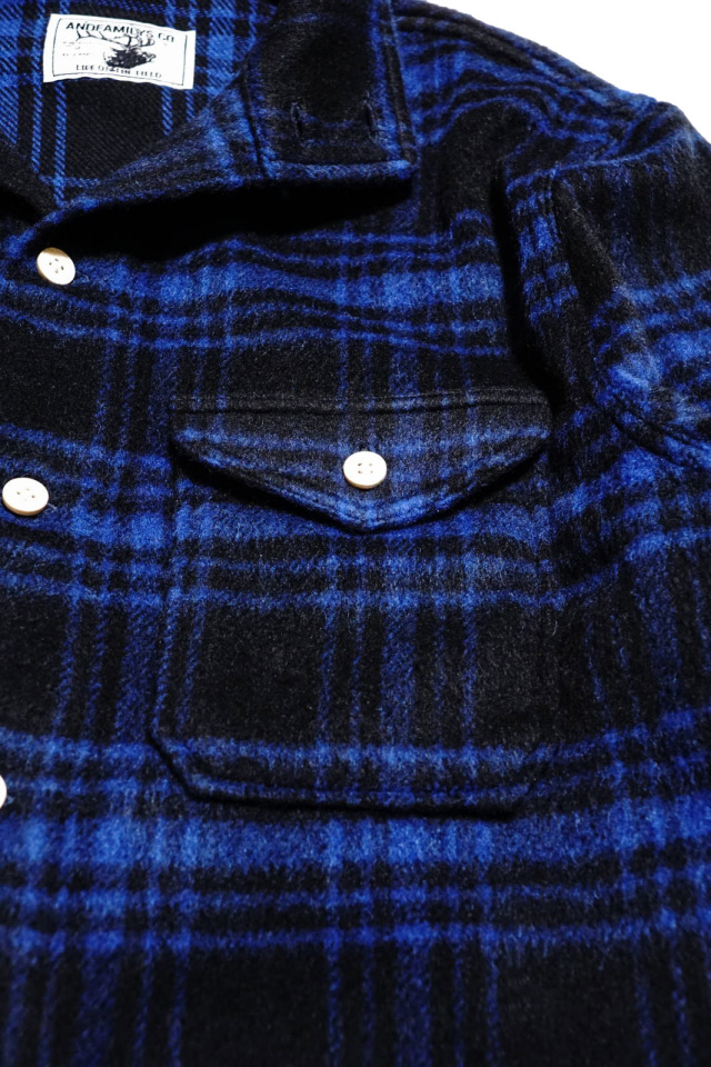 ANDFAMILYS CO. BUFFALO PLAID STAND COLLAR SHIRTS BLUE
