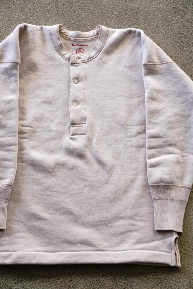 Olde Homesteader US012 Cotton Fleece Henley Neck Long Sleeve PARCHMENT