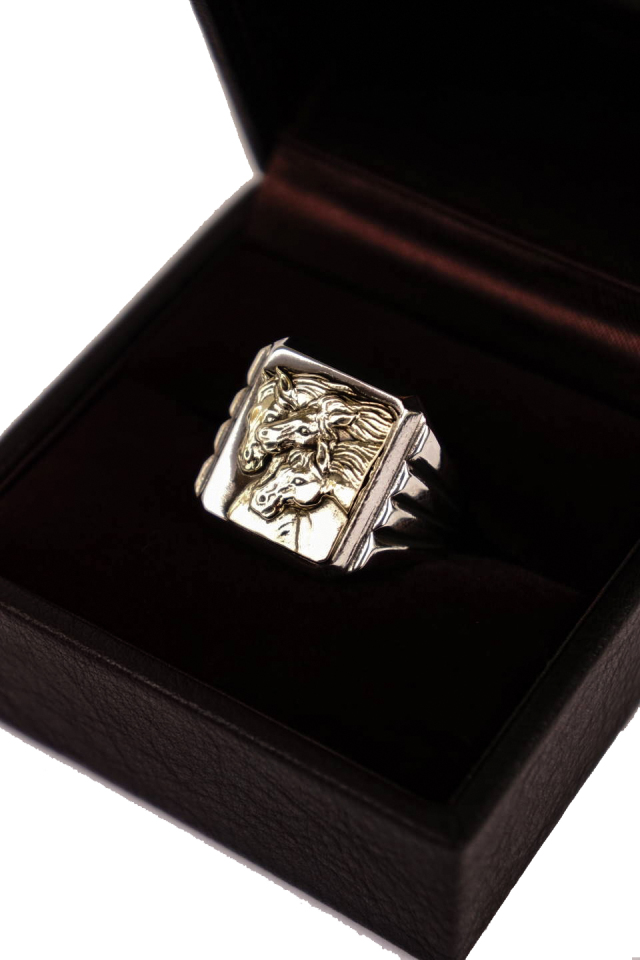 PEANUTS & Co. PHARAOHS HORSES RING square Silver×K10 Gold