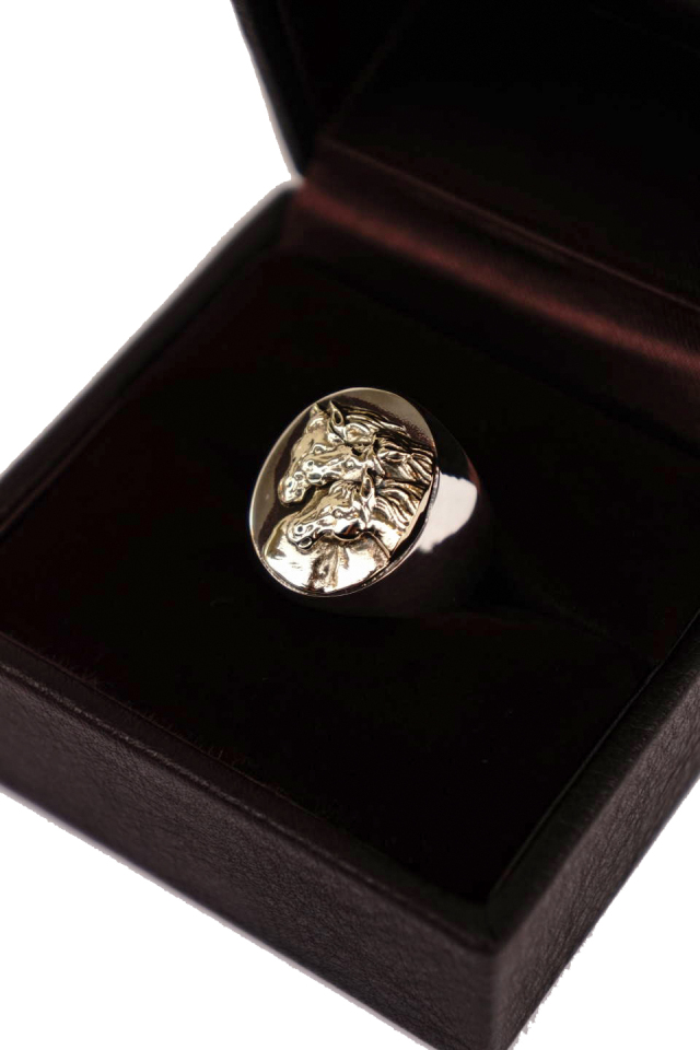 PEANUTS & Co. PHARAOHS HORSES RING oval L Silver×K10 Gold