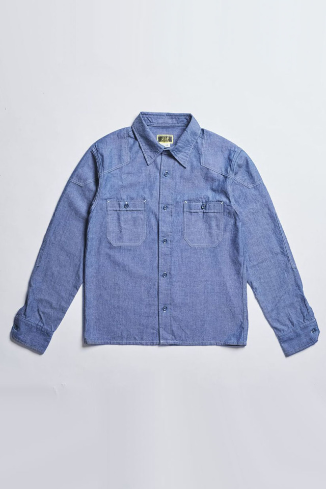 ADDICT CLOTHES JAPAN ACV-SH01-20S PADDED CHAMBRAY SHIRT BLUE