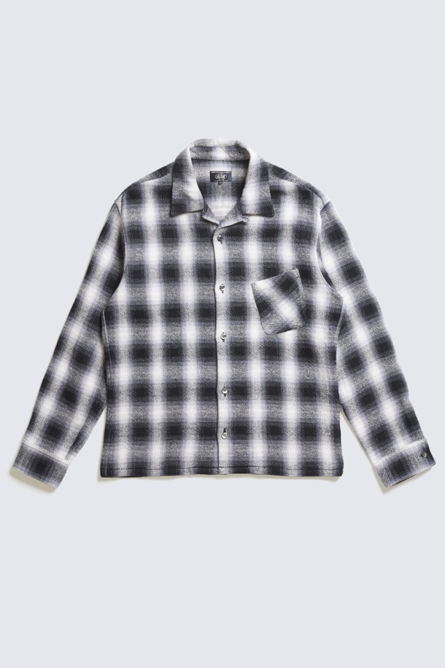 ADDICT CLOTHES JAPAN ACVM ACV-SH02COM COTTON OMBRE OPEN COLLAR SHIRT BLACK