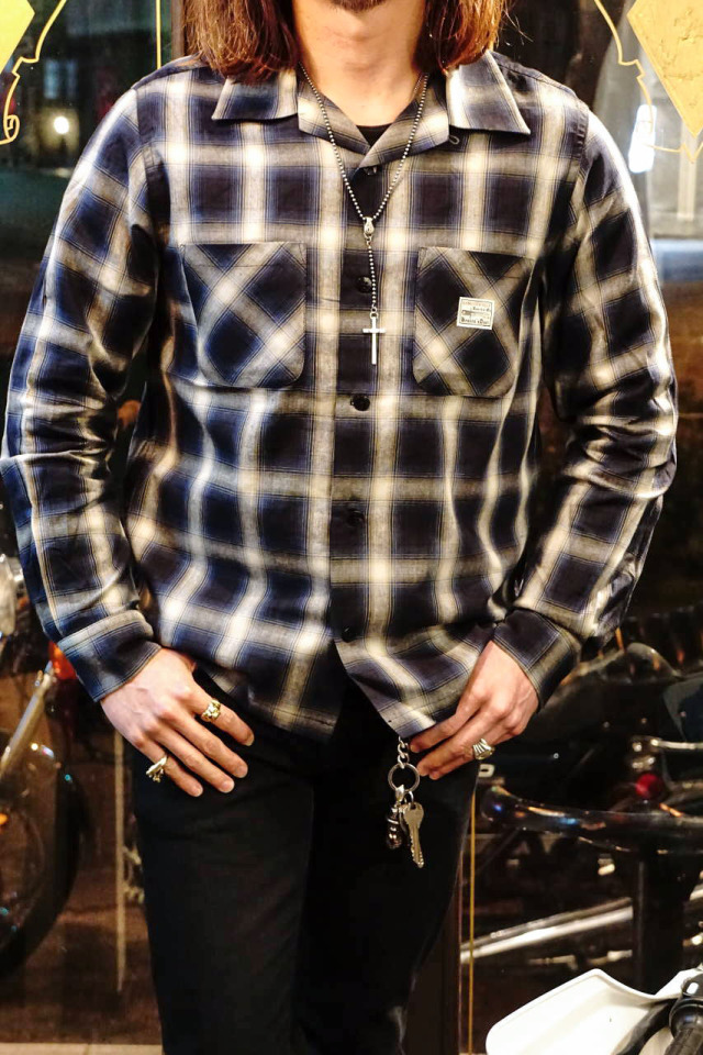 GANGSTERVILLE JACK - L/S CHECK SHIRTS BLUE