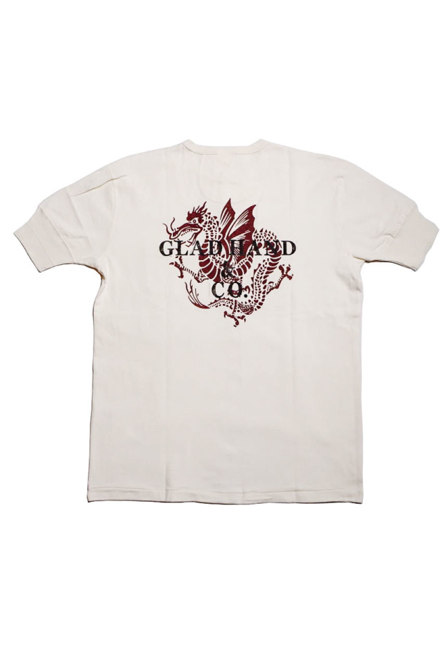 GLAD HAND × FULL COUNT DRAGON - S/S HENRY T-SHIRTS WHITE