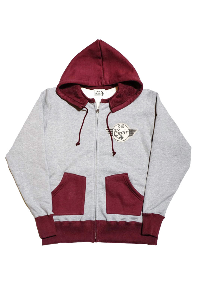 OLD CROW SPEEDWAY - SWEAT ZIP UP HOODIE GRAY × BURGUNDY