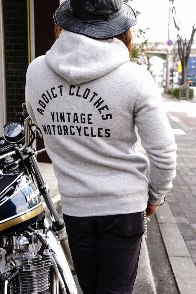 "ADDICT CLOTHES JAPAN ACVM HEAVY WEIGHT ZIP UP PARKA ""PRINT"" L.GREY"