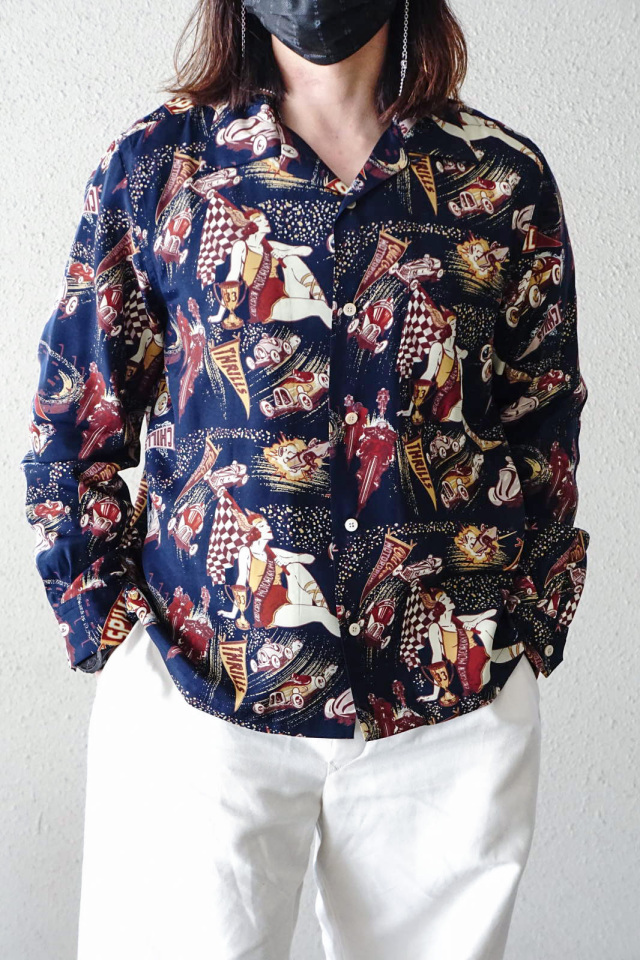 OLD CROW MOTORDROME - L/S SHIRTS NAVY
