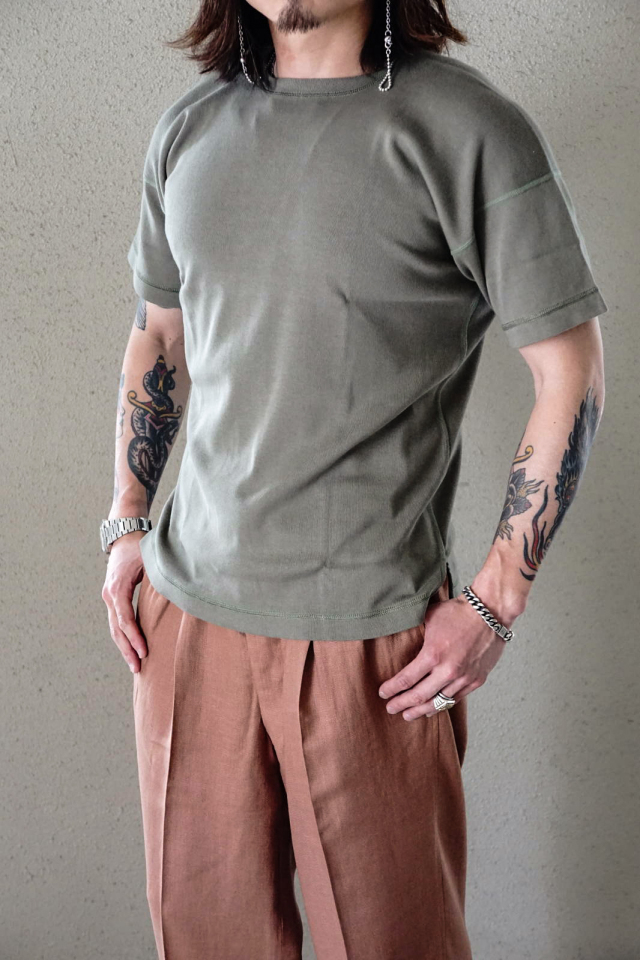 "Olde Homesteader ""Crew Neck Short Sleeve"" - Heavy Weight Rib - OLIVE"