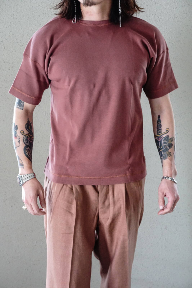 "Olde Homesteader ""Crew Neck Short Sleeve"" - Heavy Weight Rib - ROSEWOOD"