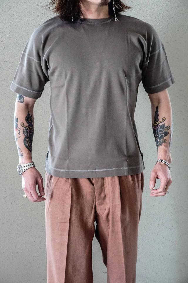 "Olde Homesteader ""Crew Neck Short Sleeve"" - Heavy Weight Rib - RUSTIC GREY"