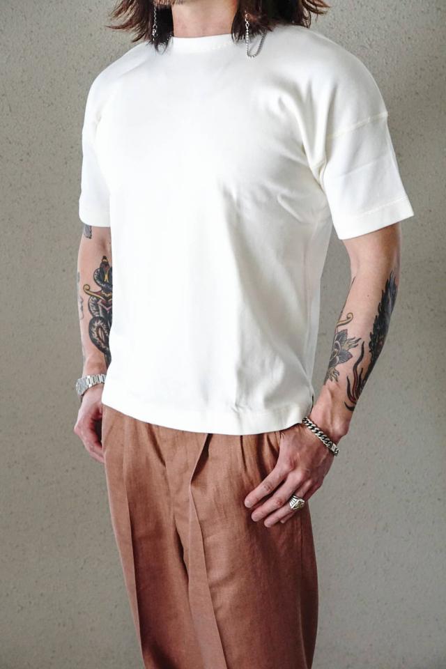 "Olde Homesteader ""Crew Neck Short Sleeve"" - Heavy Weight Rib - OFF WHITE"