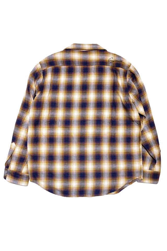 GANGSTERVILLE RIOT OF MIRTH - L/S CHECK SHIRTS YELLOW